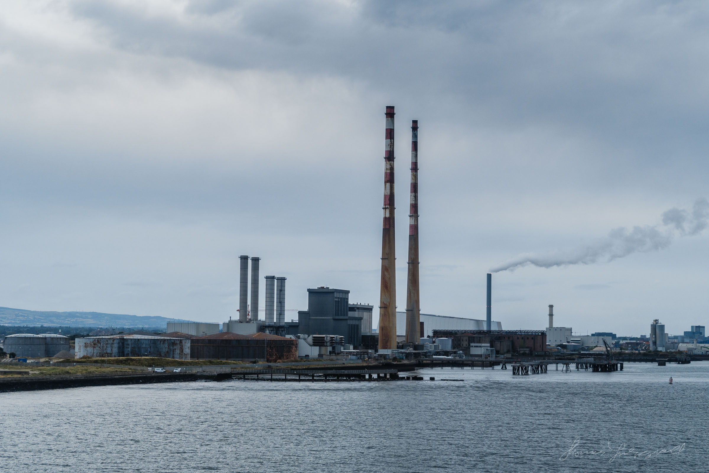 Poolbeg Towers from the river