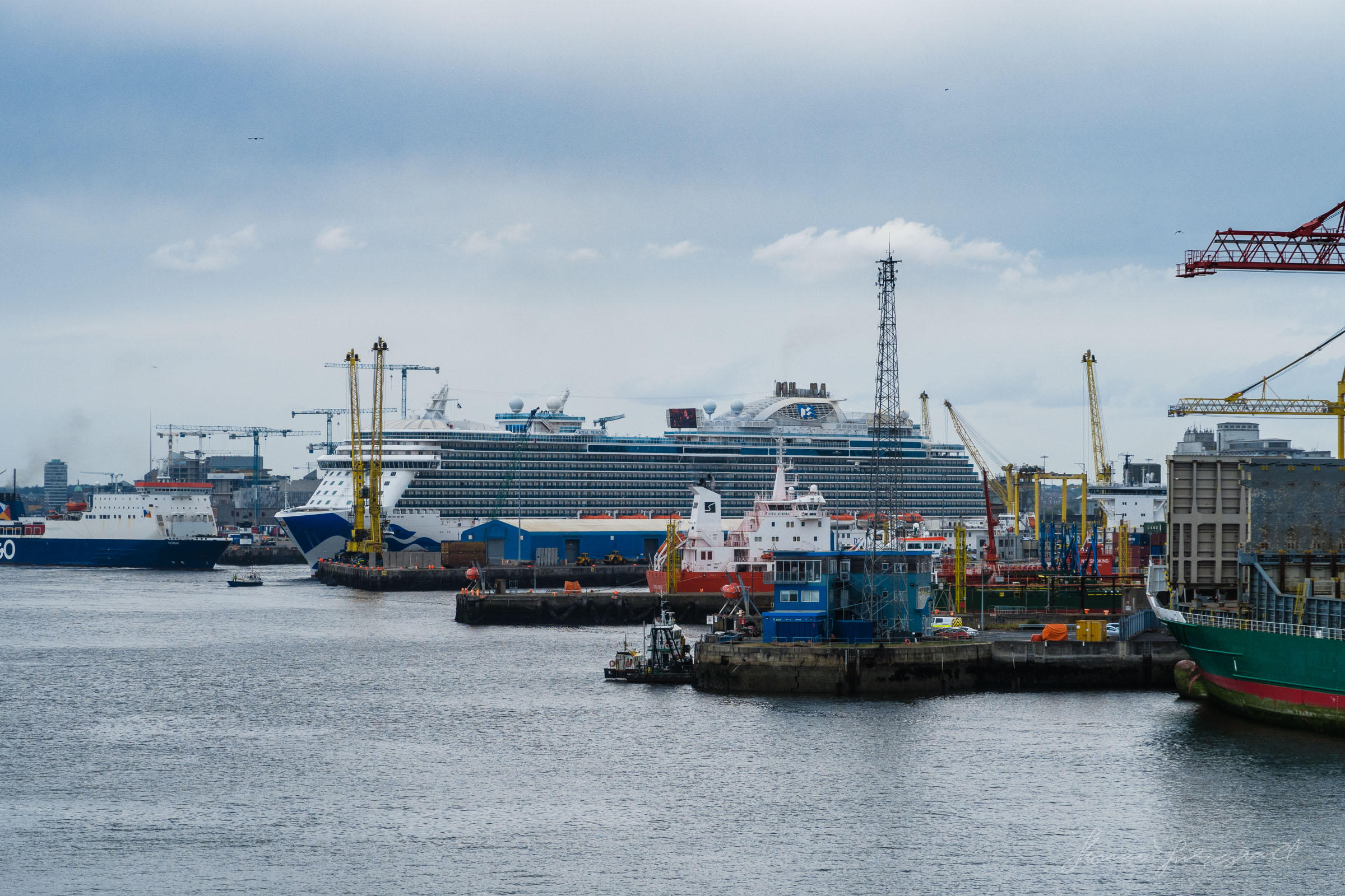 Boats docked in Dublin Port