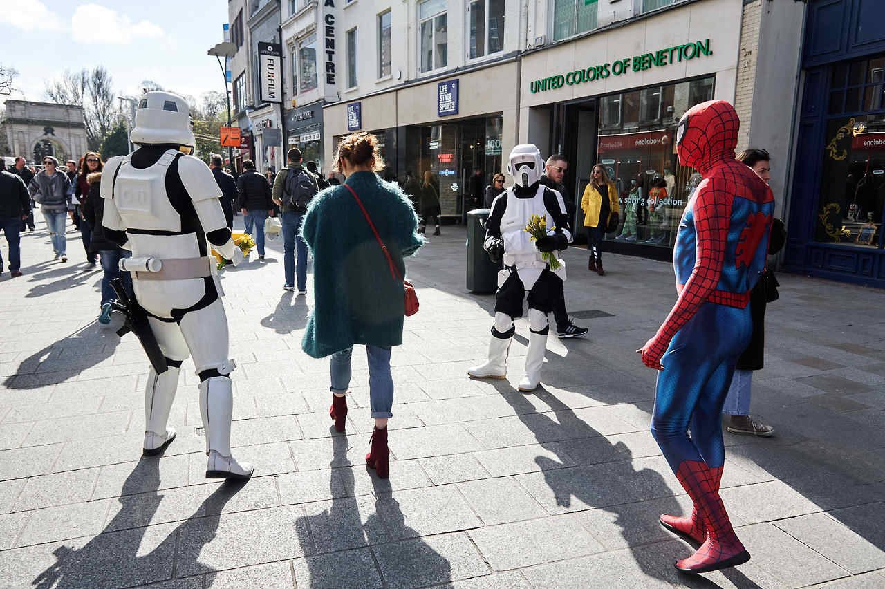 Storm Troopers and Spiderman Raising Money for Daffodil Day