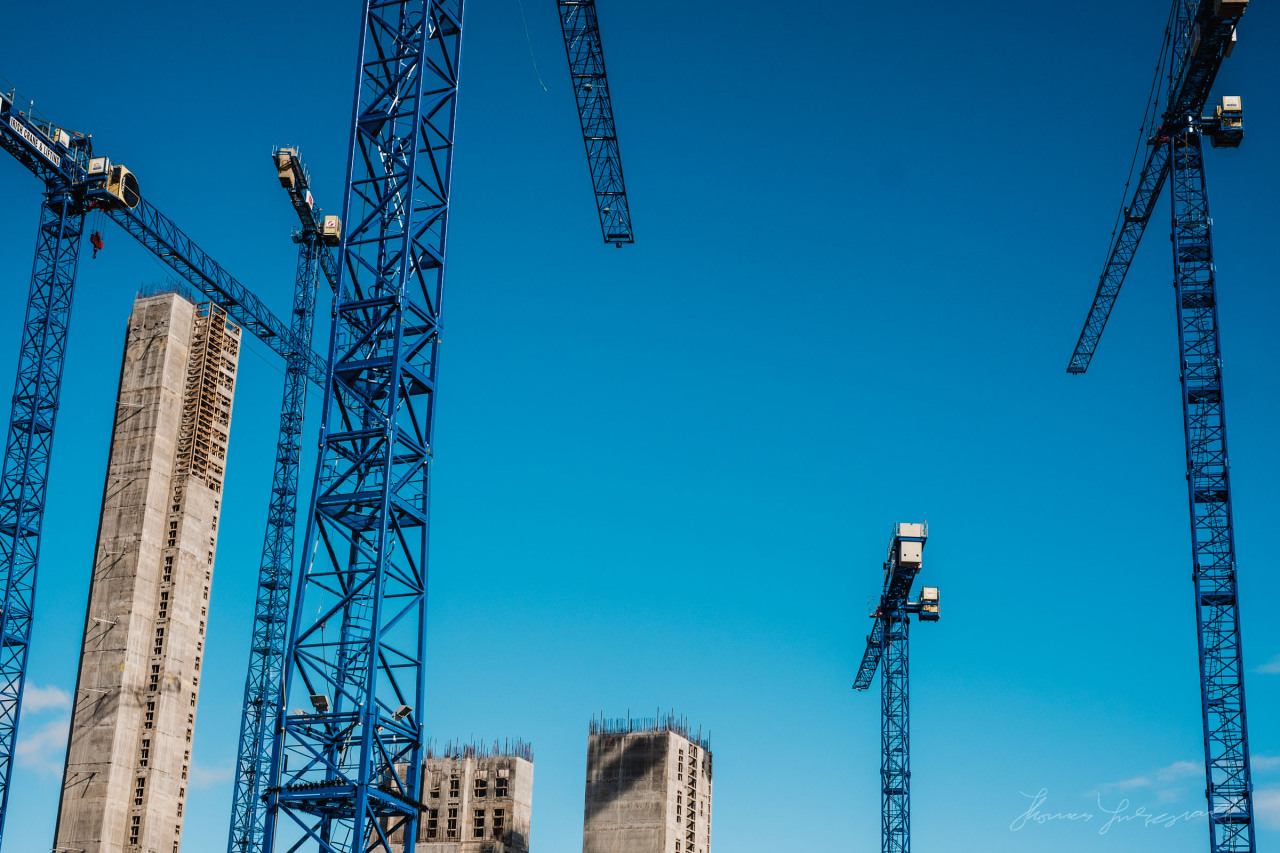 Towering cranes - imagine the view from the top