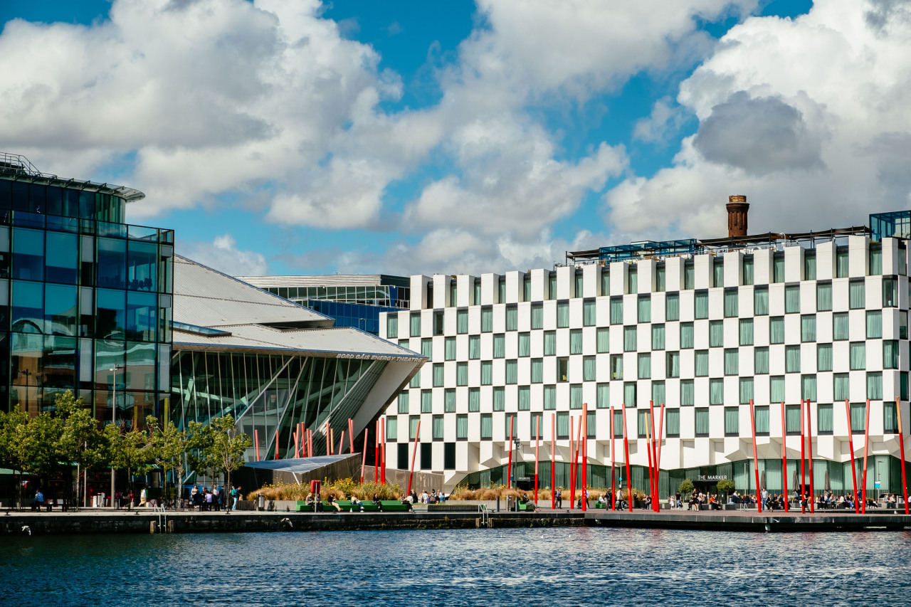 The beautiful Marker Hotel and the Bord Gaís Energy Theatre gleaming in the sunshine, as viewed from across the dock.