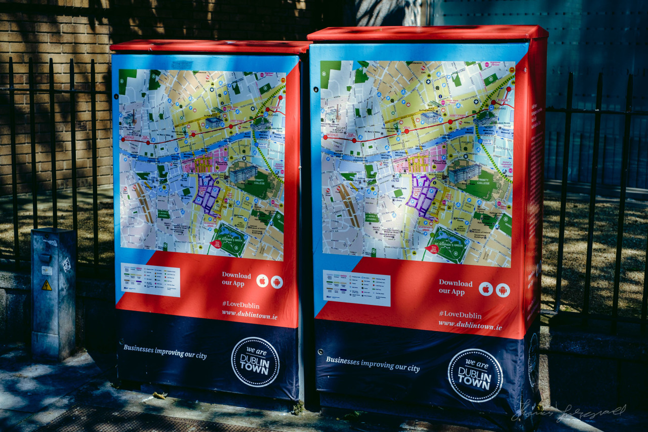 Pretty maps, and a clever way to hide those distribution boxes!  As seen on the corner of Stephen's Green