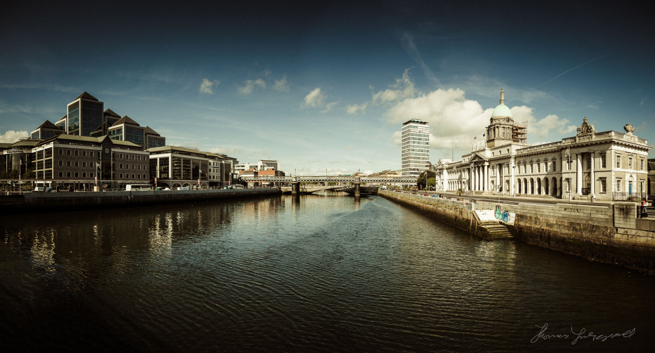 A panorama of the Liffey in the Early Morning sunshine