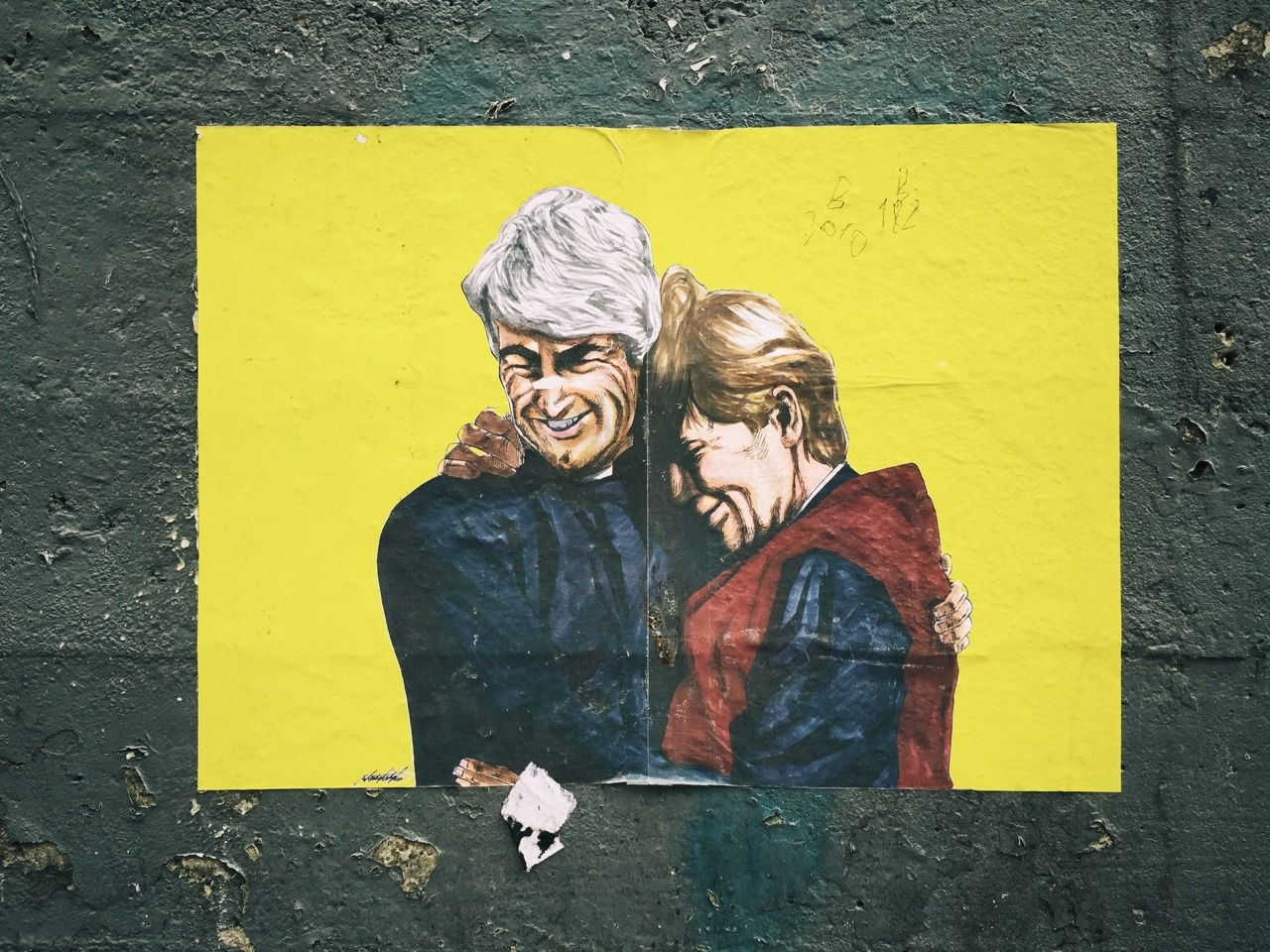 Gorgeous street art of Ted and Dougal as seen on the side of a wall on George's Street