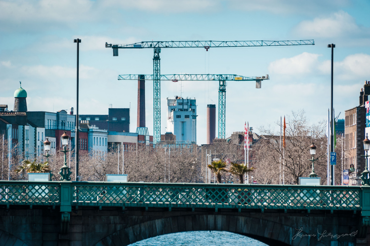 Blue sky over the Liffey