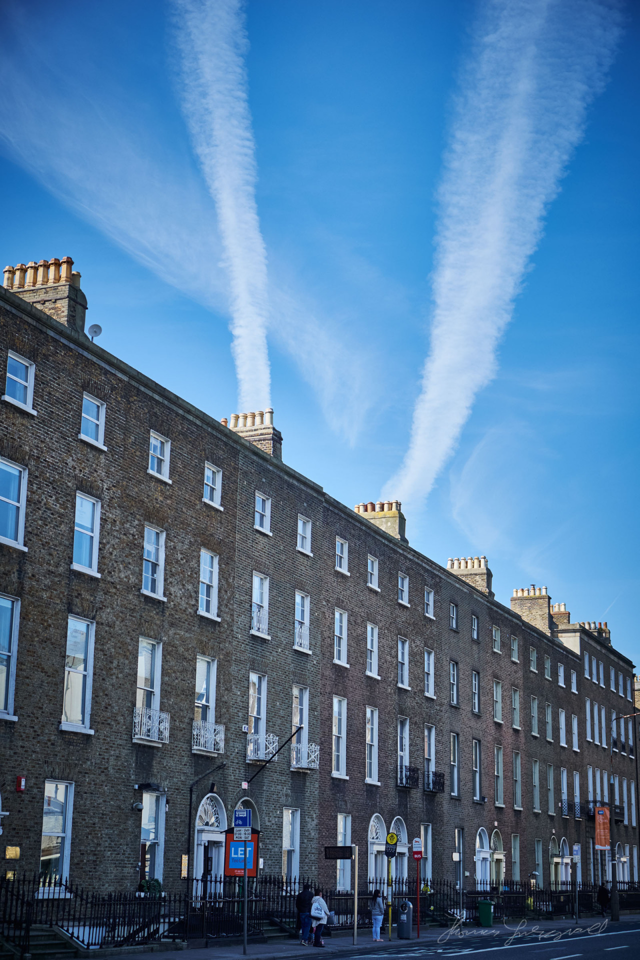 Blue sky over Leeson Street