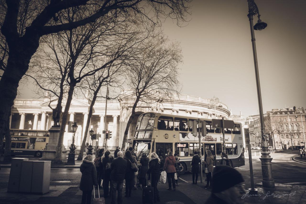 Waiting to cross on Dame Street