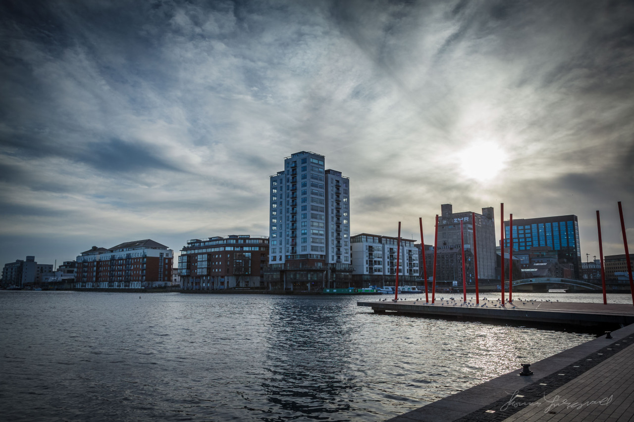 Winter sun over Dublin's Grand Canal Dock