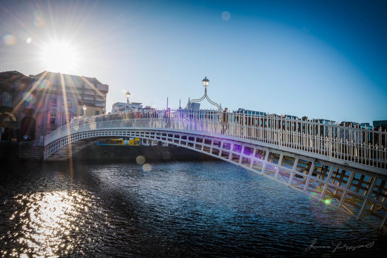 Dublin's iconic Ha'penny Bridge in the winter sunshine on a cold winter's day
