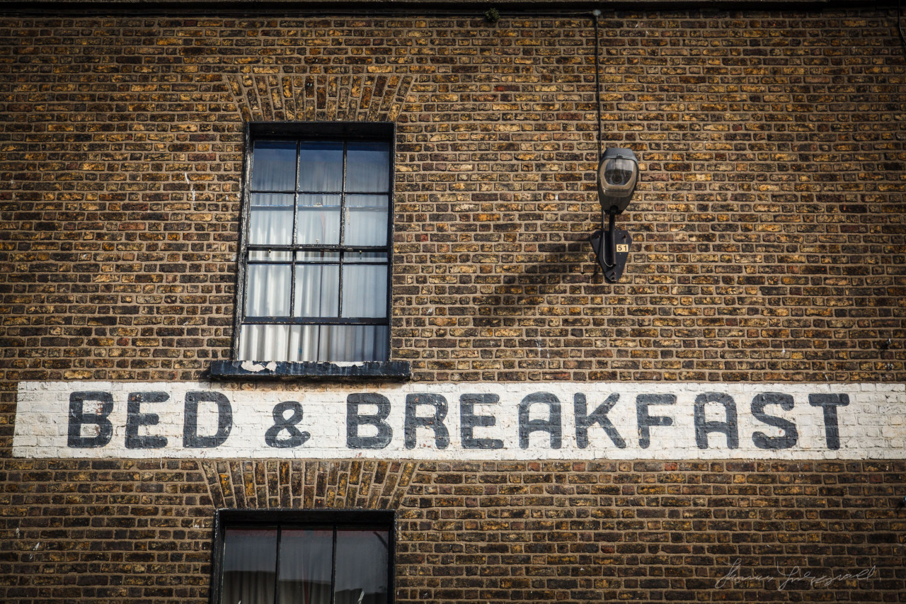 Bed and Breakfast sign on a building