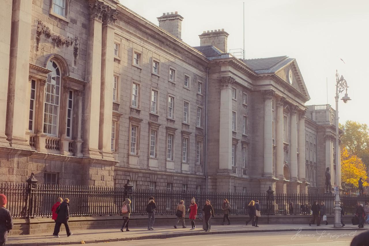 Autumn sunshine on Trinity College Dublin (taken before current Luas works)