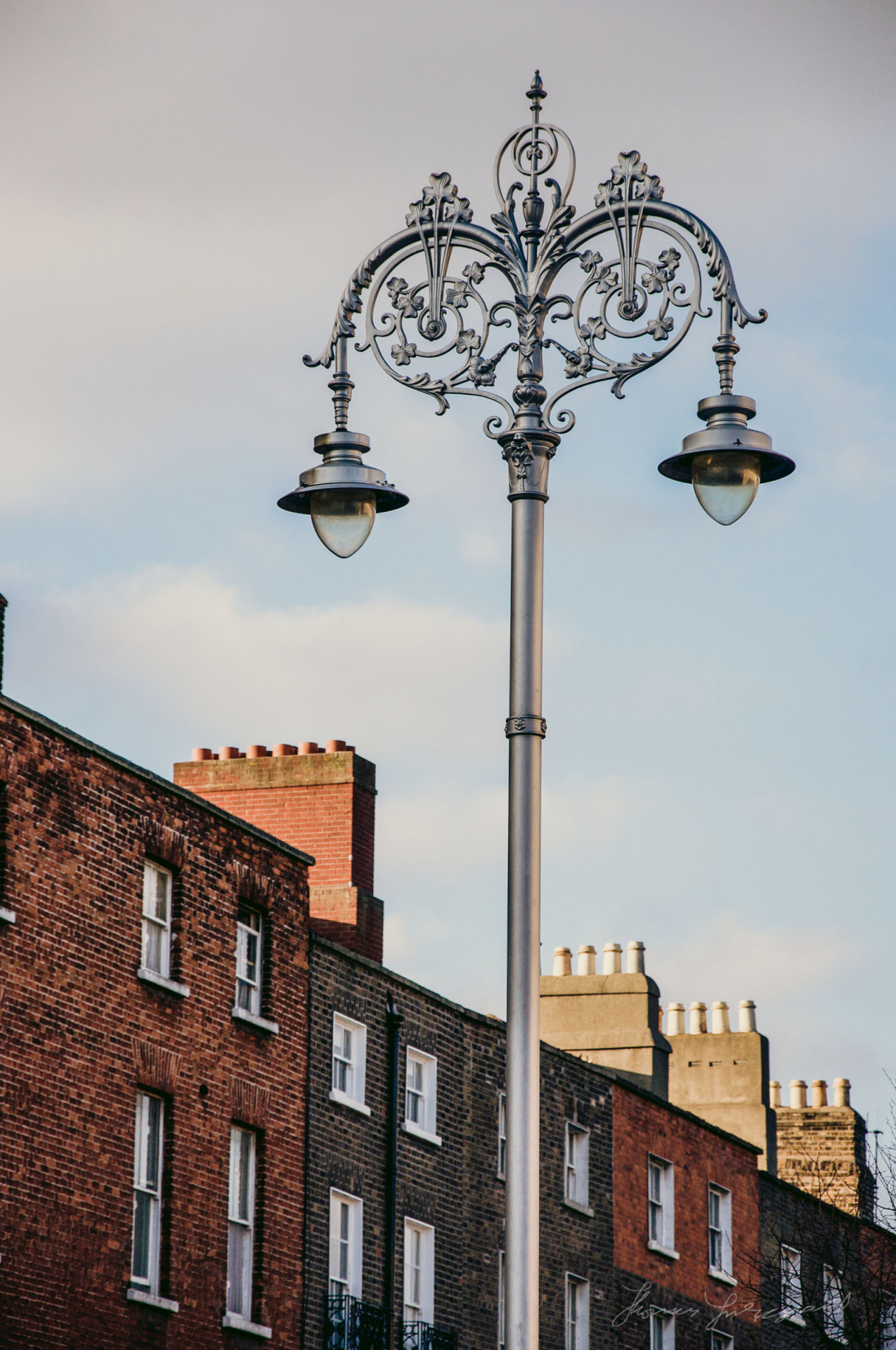 The lamp post and the Georgian buildings