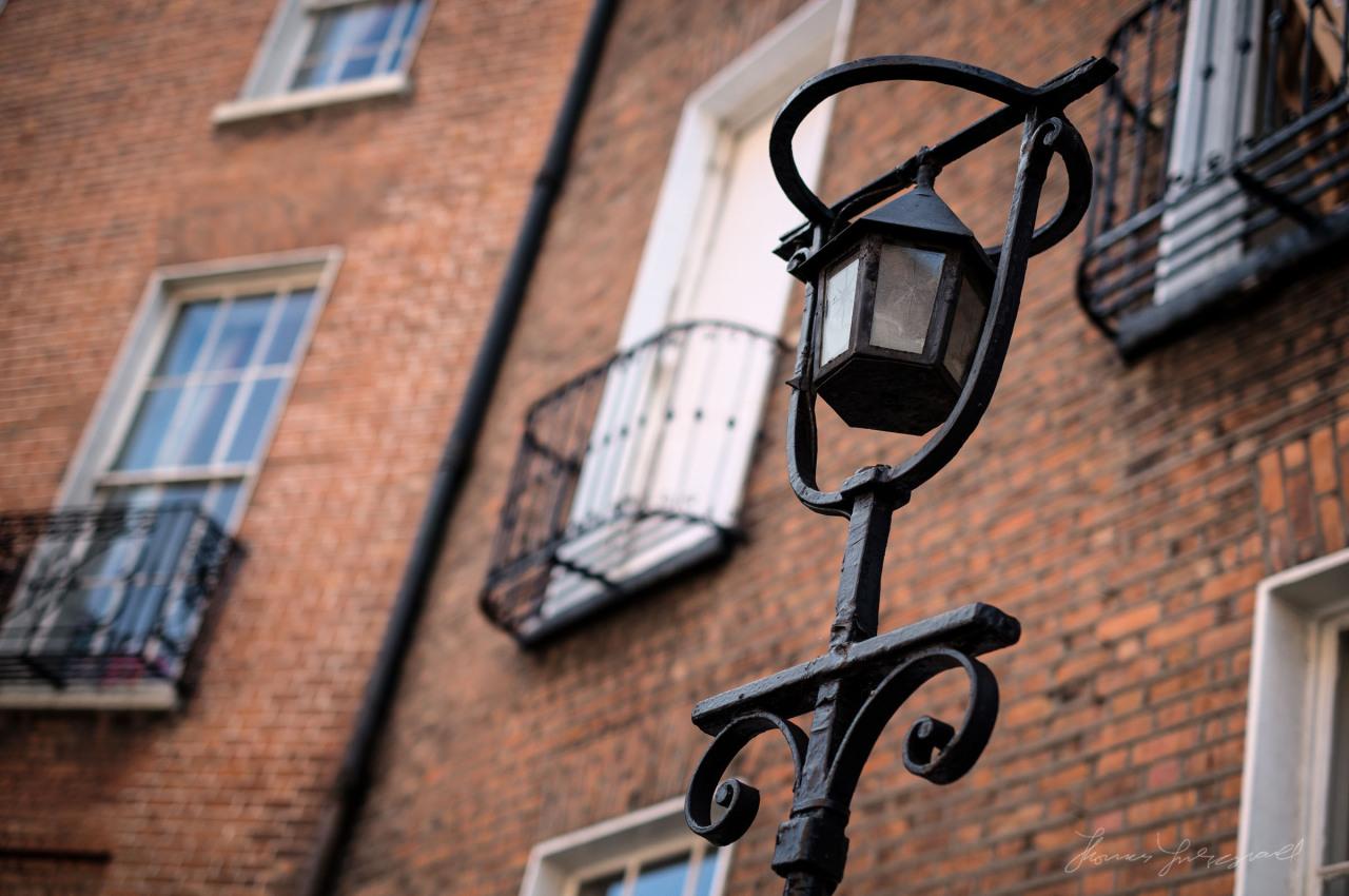 Ornate lamp and Georgian Dublin