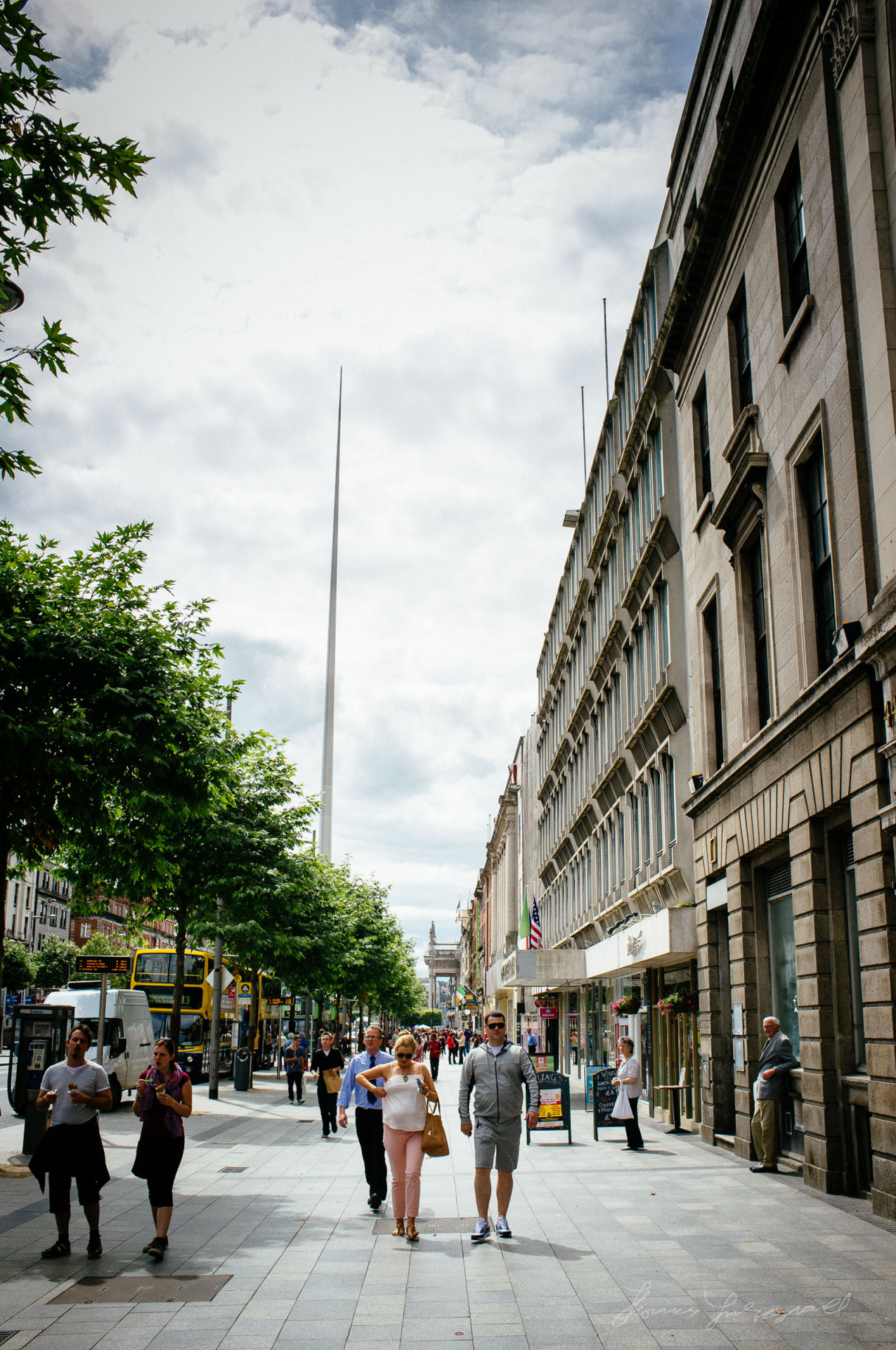 The Spire stretching up over O'Connell Street