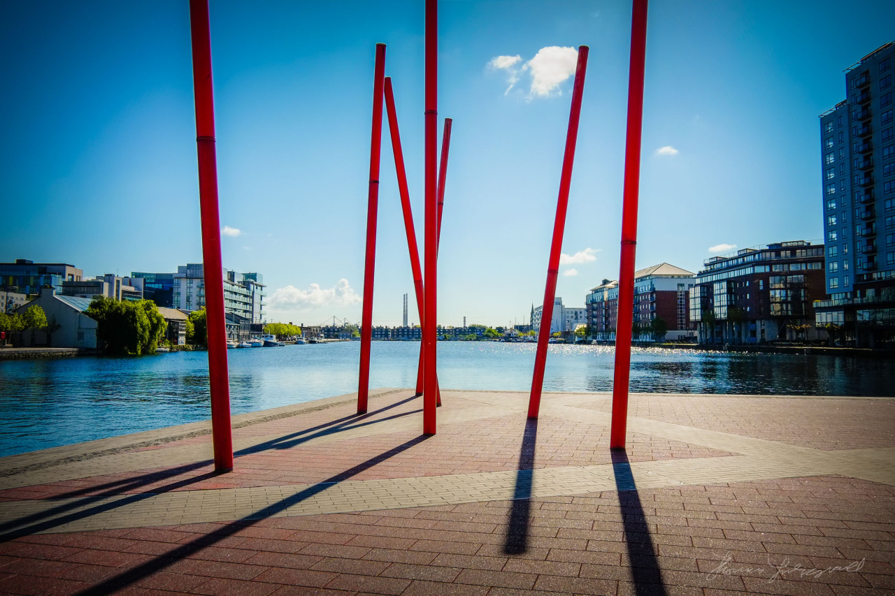 The Grand Canal Dock in the sun