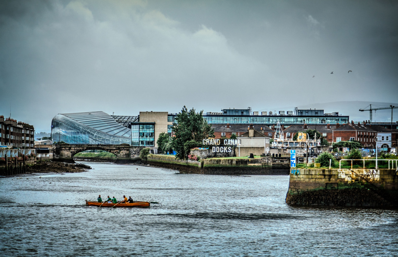 Old and new Dublin mix together at the Grand Canal Docks