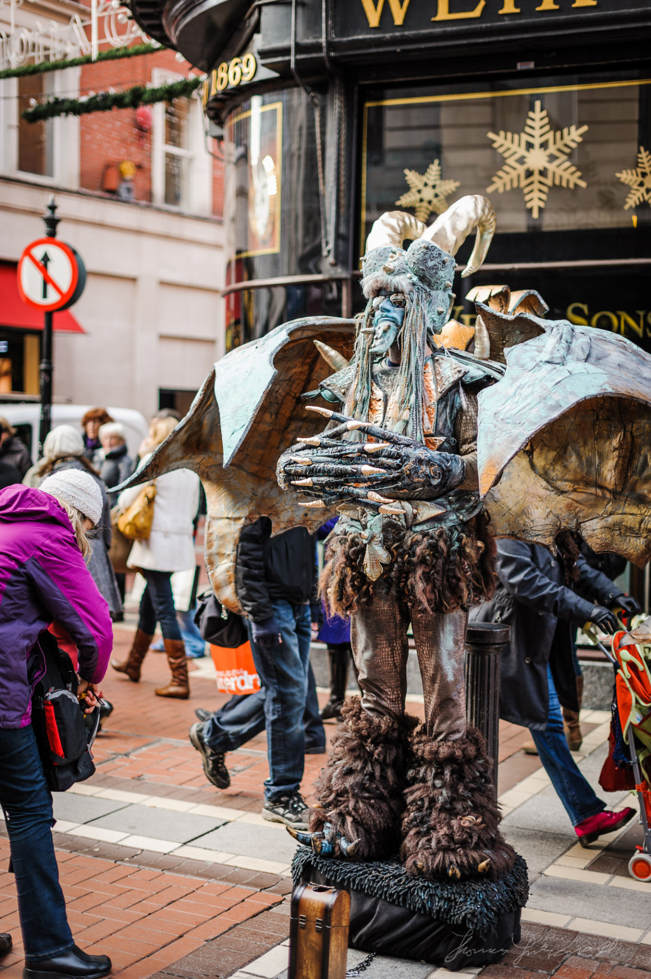 Impressively costumed street performer on Grafton Street
