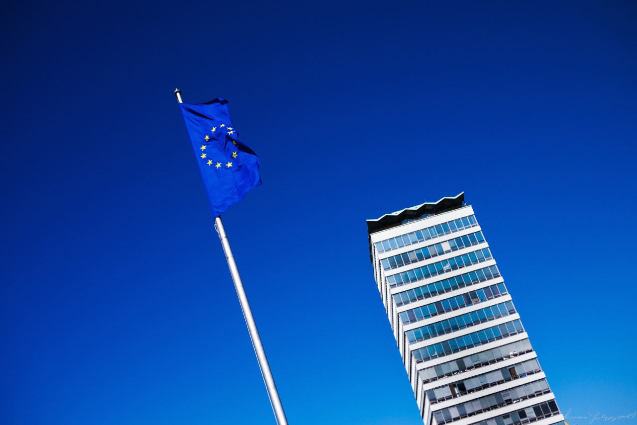 EU Flag flying in front of Liberty Hall