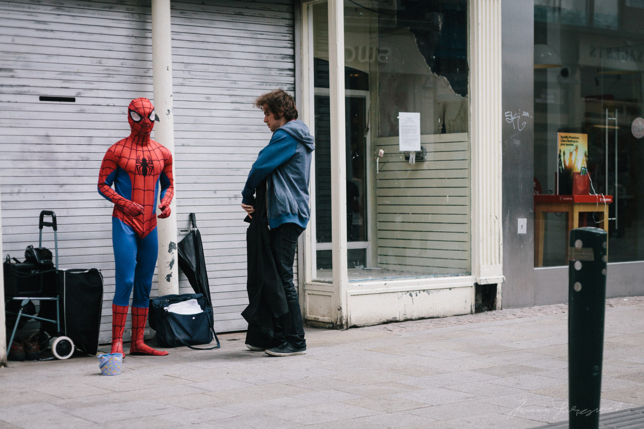 Spiderman hanging out on Grafton Street!