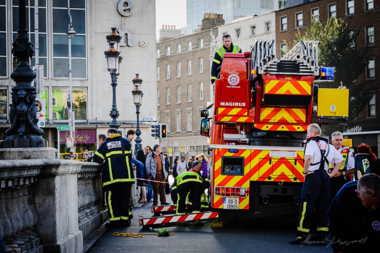 Dublin Fire brigade conducting a drill on O'Connell Bridge (2011)