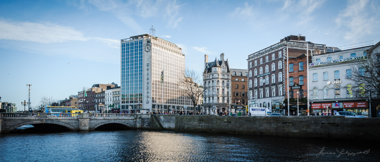 O'Connell Bridge and Eden Quay on a sunny winter's Day