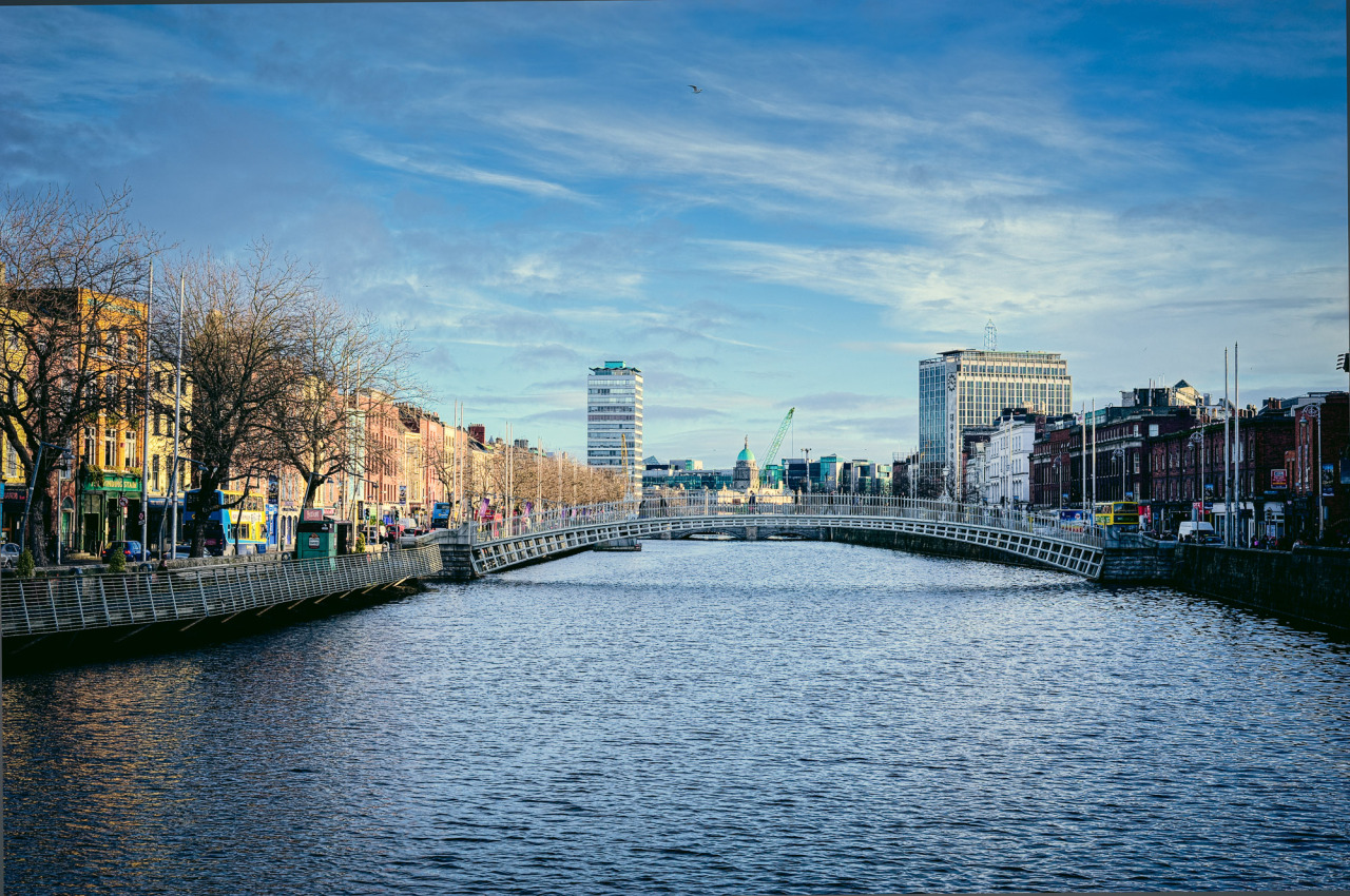 Blue Sky and Blue water on a beautiful winters day on the Liffey