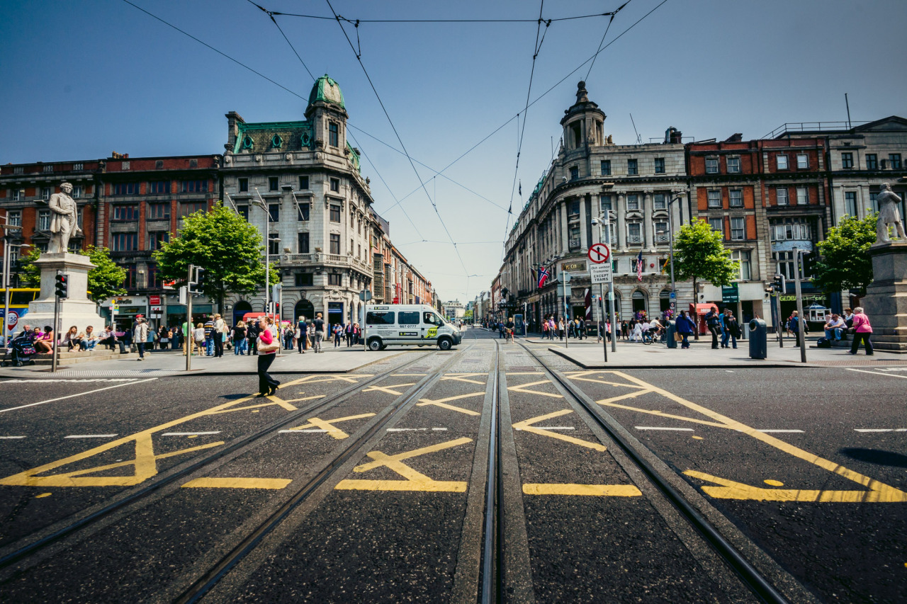 Crossing Abbey Street at the Junction on O'Connell Street.