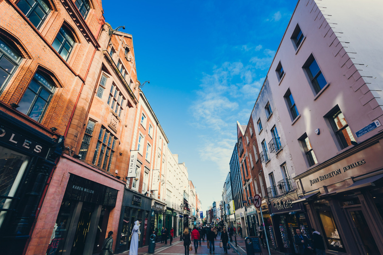 Here's an unusual perspective on Grafton Street, our City's main shopping street. Despite the fact that O'Connell Street is technically the main street of Dublin, Grafton Street is where the majority of the shops are.  I got this unusual angle by shooting with an ultra-wide lens and pointing up towards the sky