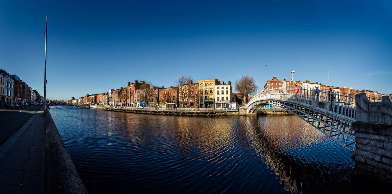 A Panorama of the Liffey from the Ha'penny bridge to the millennium bridge