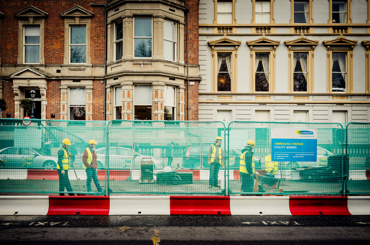 Road Works at Stephen's Green for the Cross Town Luas Project