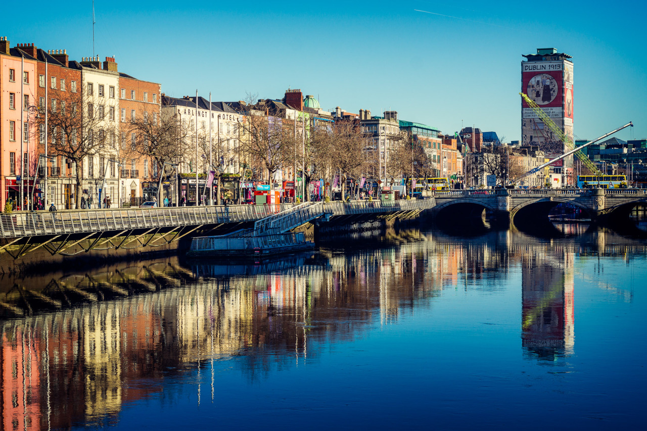 On a cool winters day in January the waters of the liffey were amazingly still and with the low winter Sun the effect was an almost mirror like reflection of the buildings above on the waters of the river below