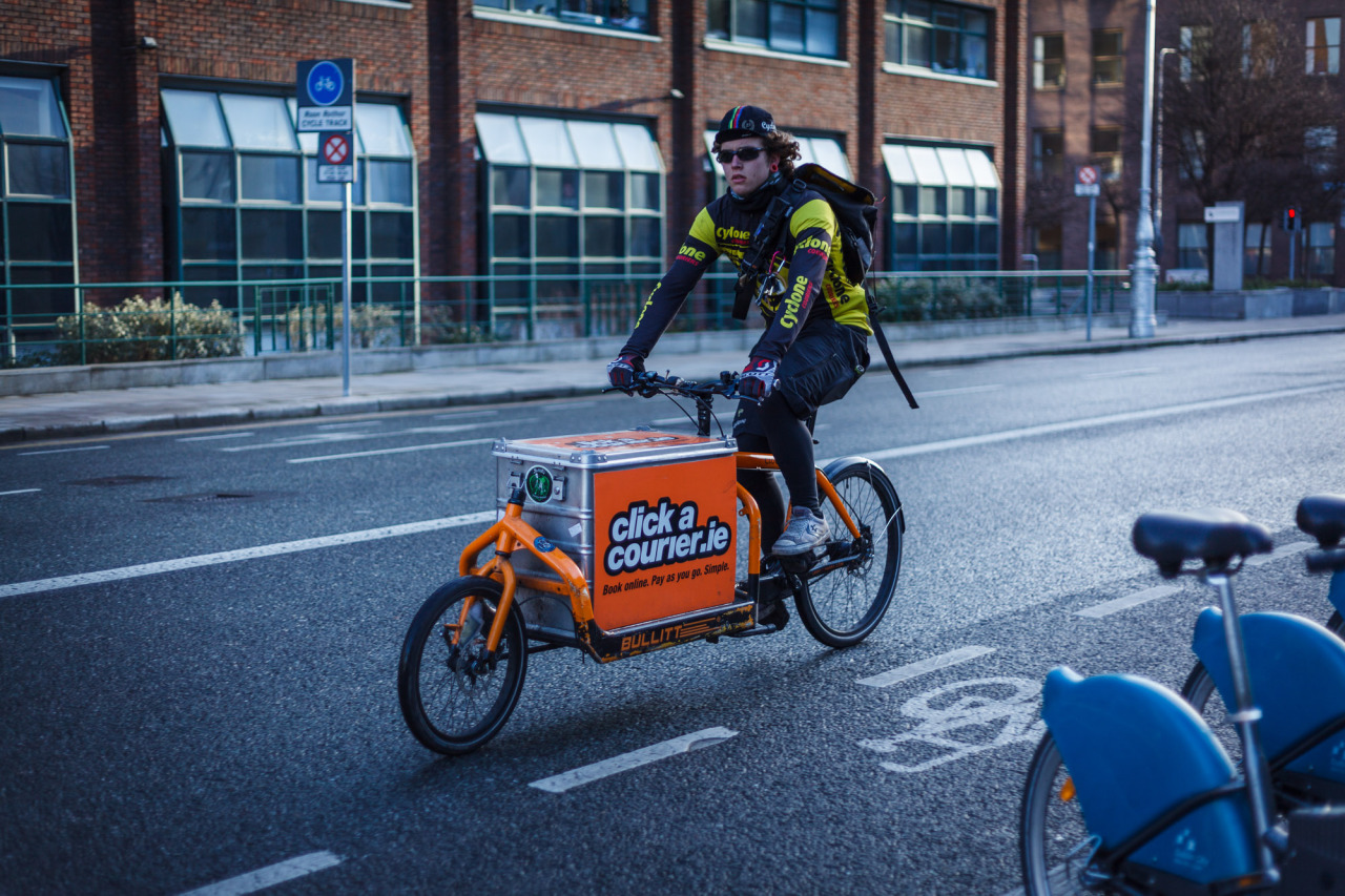 Courier Biker on the Streets of Dublin