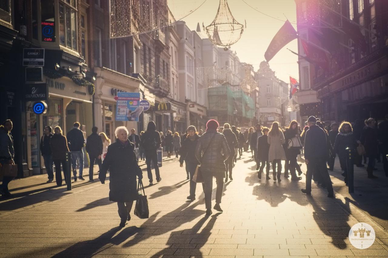 Grafton Street Shoppers in the Low Winter Sun