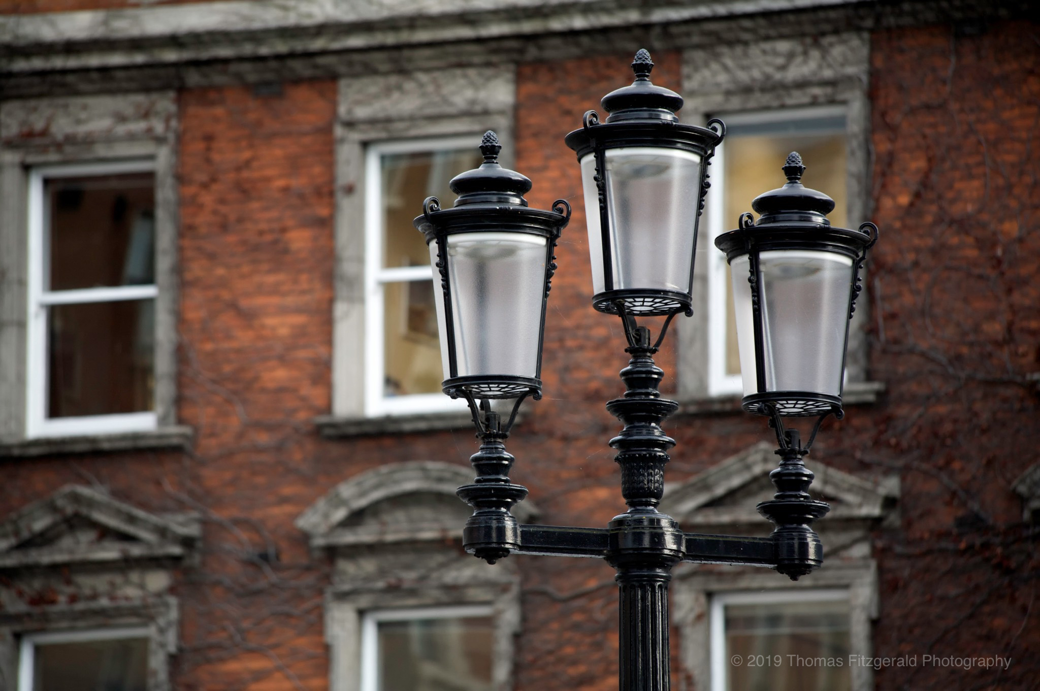 Lamp post on georgian building in Dublin
