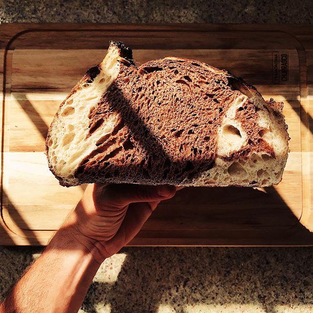 Sourdough Bread with Callebaut cocoa and honey.