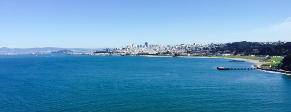 San Francisco seen from the Golden Gate bridge. Of course we had to bike from the city and over the bridge to get some inspiration...