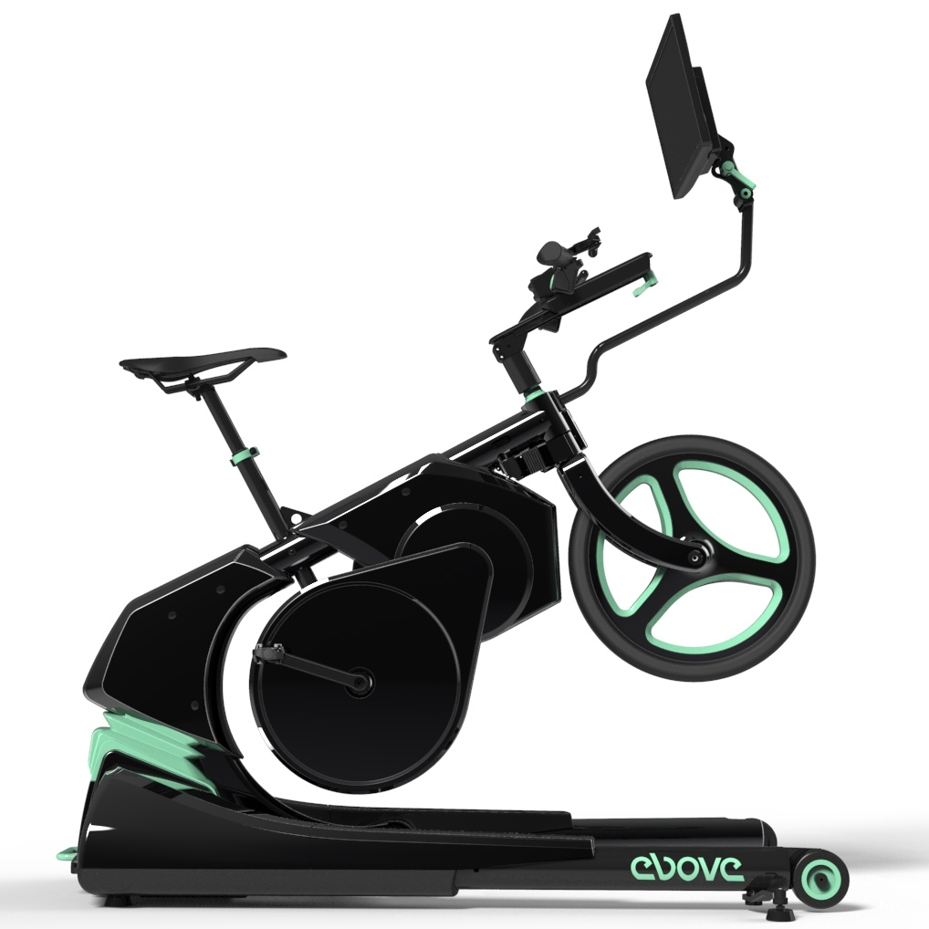 Real motion indoor bike, with automatic and responsive incline/decline, as well as sideways tilt, giving an unparalleled user experience.