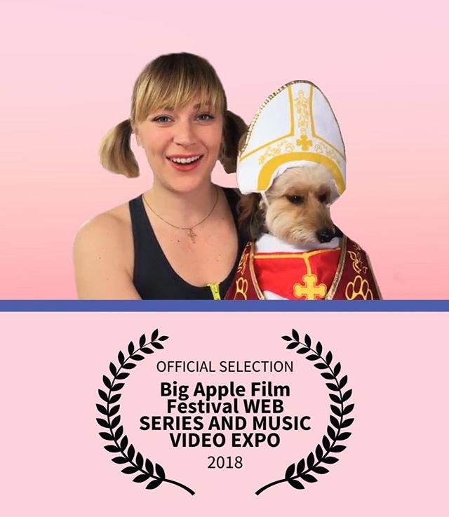 We pope to see you at the screening tomorrow! 6:45pm @svatheatre  @bigapplefilmfestival Web Series Fest • • • • #filmfestival #webseries #bigapple #ladytips #pope #film #womeninfilm #newyork #dogsofinstagram #dogs #tommorow #fitnessmodel #pigtails #doxiepoo #comedy #actor #laurels #heyladies #dachshundsofinstagram #dachshund #poodlesofinstagram #poodle #dogincostume #catholic #notcatholic #pink  #crossfit