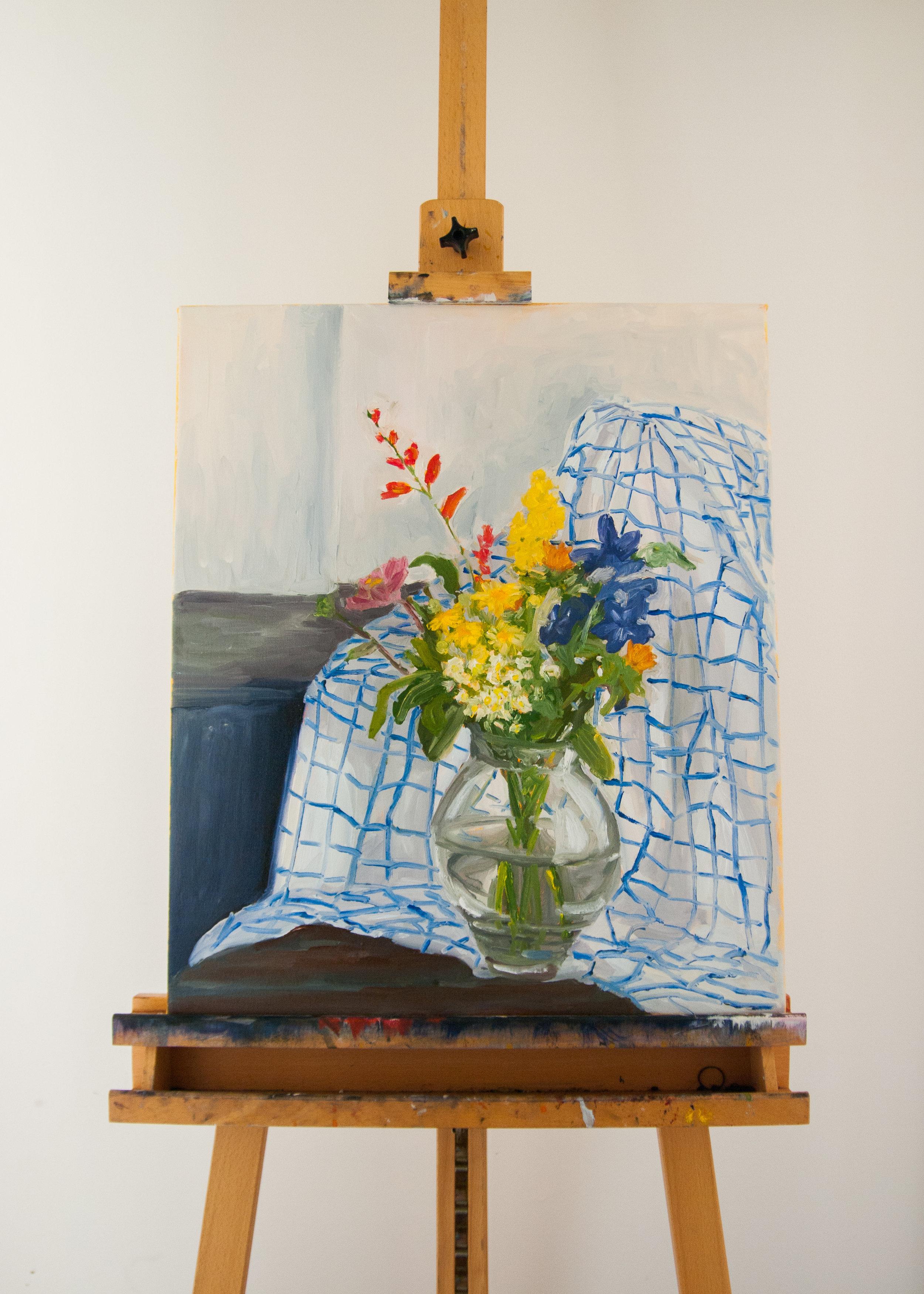 Wildflowers on  tartan. 50x60cm.Acrylic and oil on linen canvas. 2016.