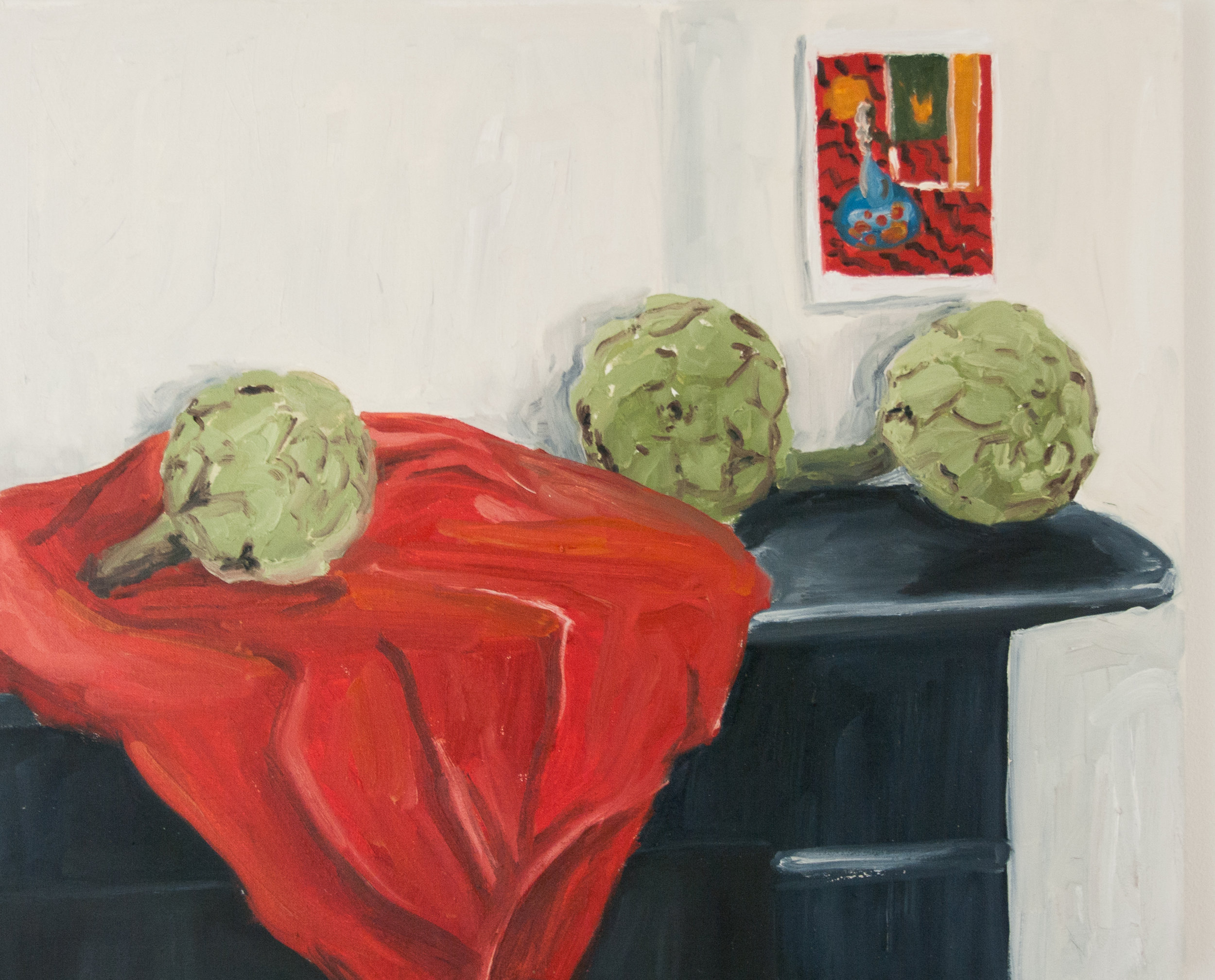 Artichokes and Matisse. 60x50cm. Oil on linen canvas. 2016.