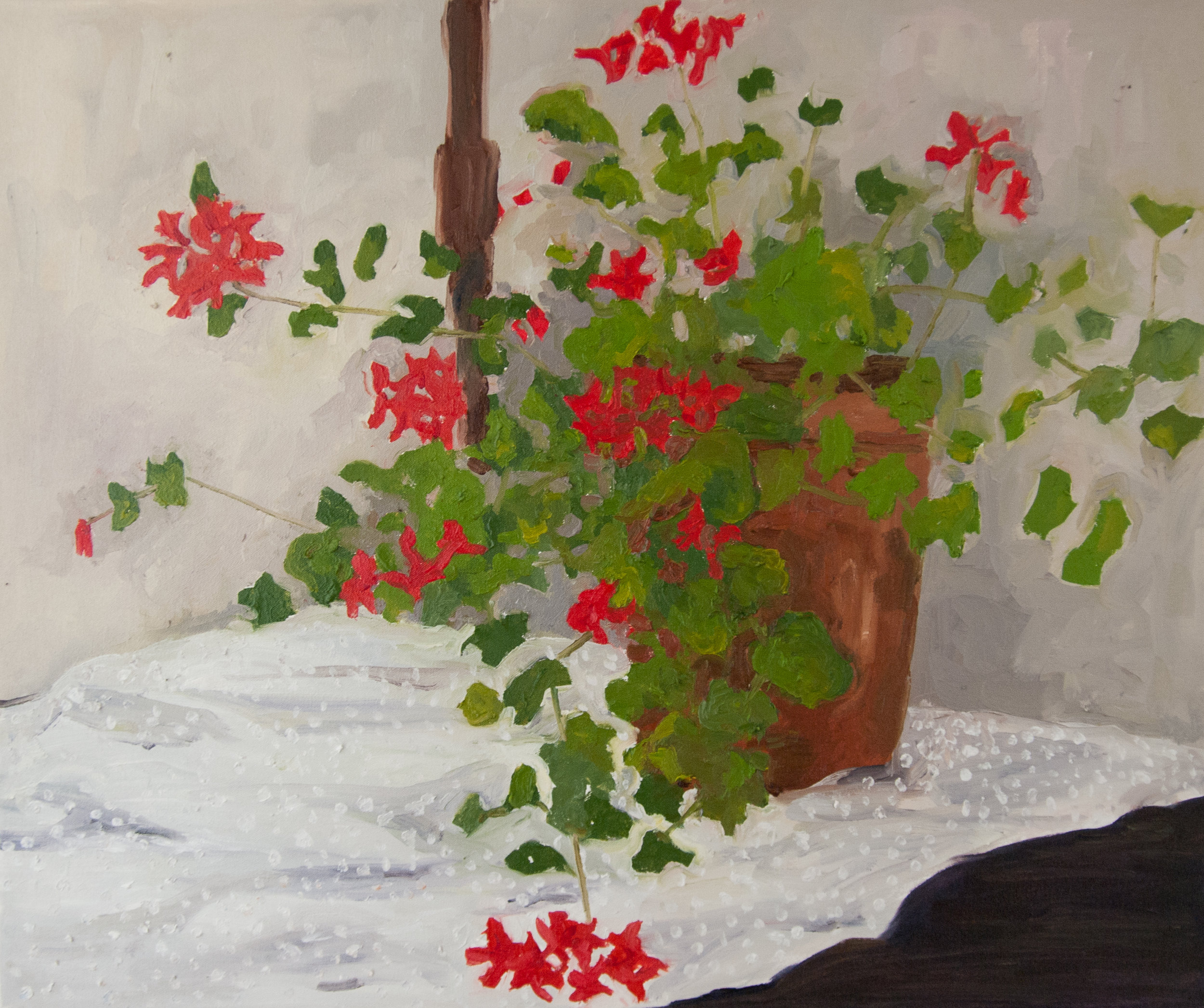 Geraniums and Swiss dots. Oil on linen canvas. 2016.