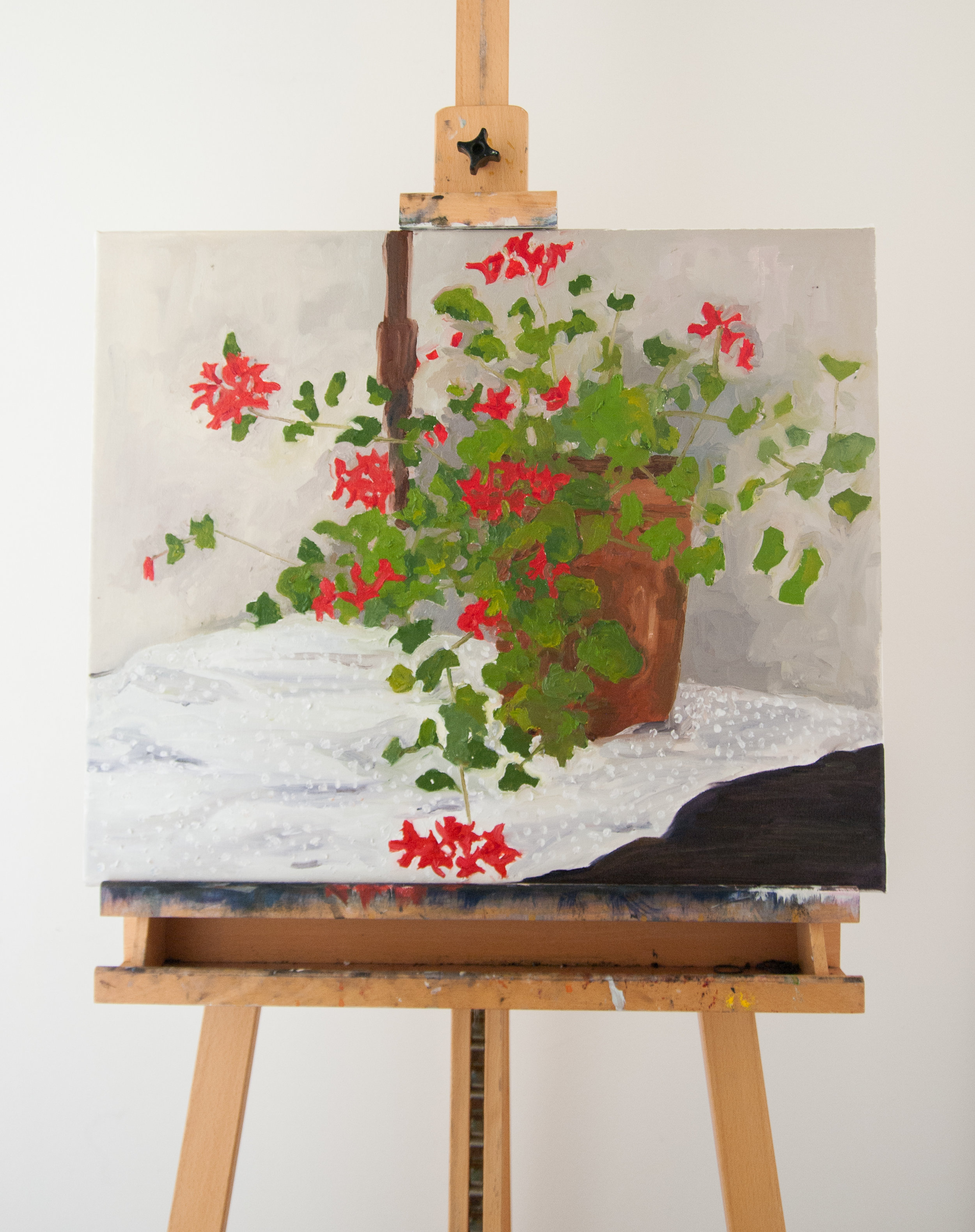 Geraniums and Swiss dots.60x50cm Oil on linen canvas. 2016.