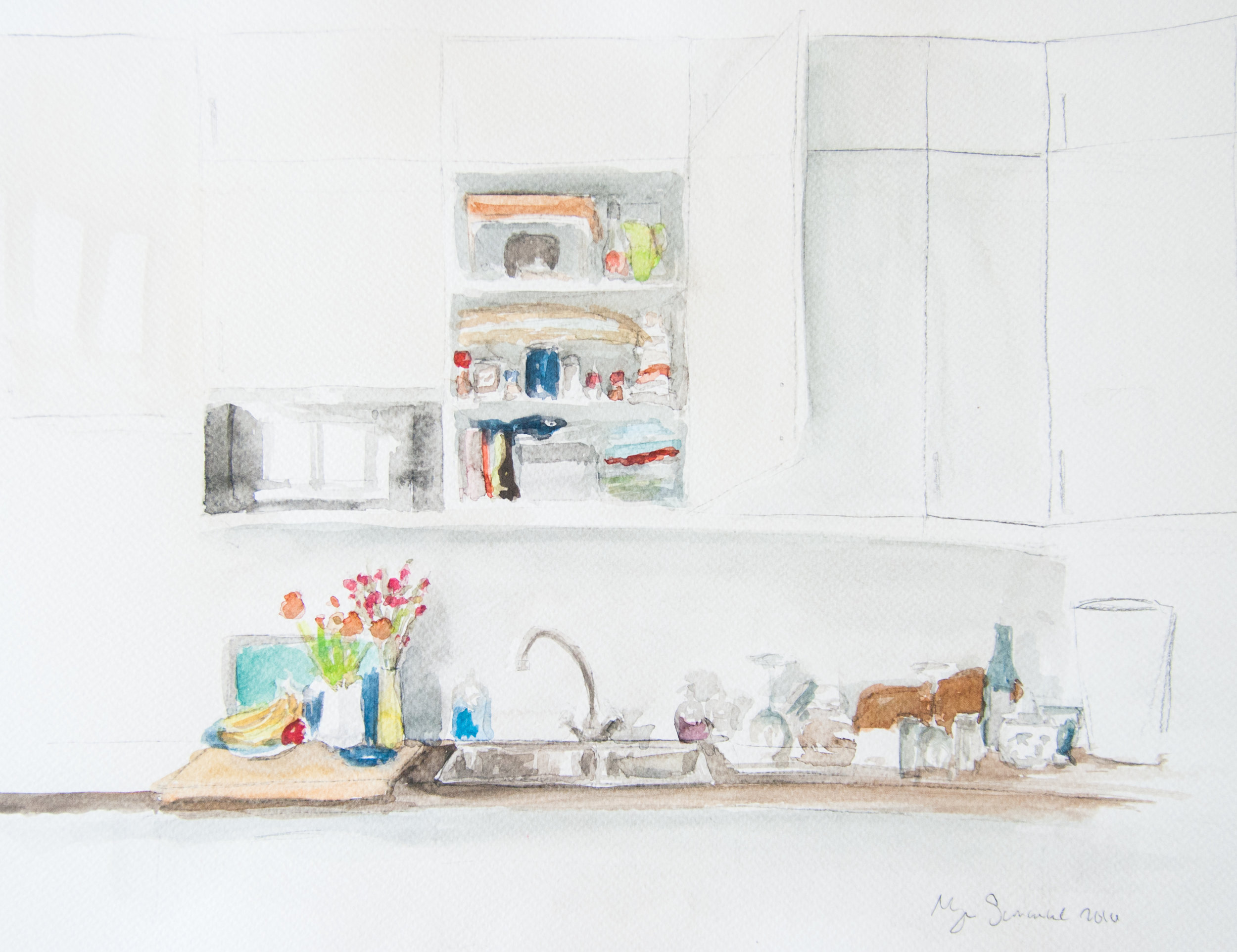 Kitchen 1. 43x30cm. Watercolor, gouache, and graphite on paper. 2016.