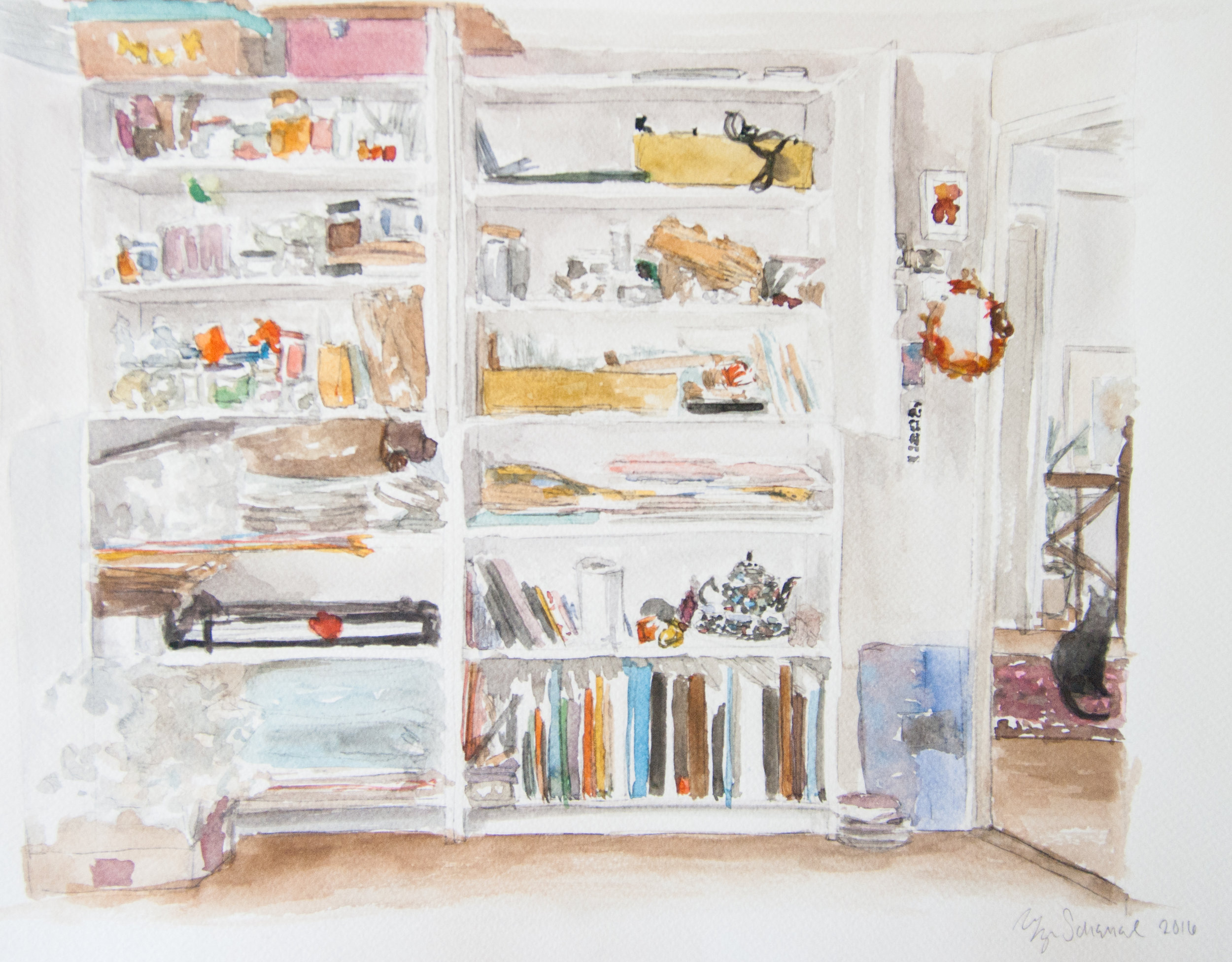 Studio Shelves. 37x30cm. Watercolor, gouache, and graphite on paper. 2016.