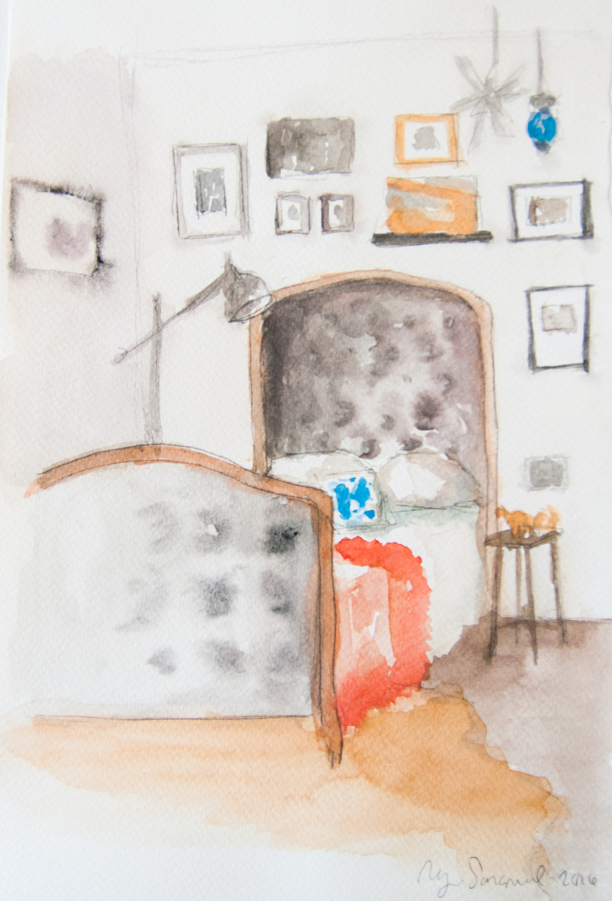 Bedroom 2. 20x29cm. Watercolor and graphite on paper. 2016.