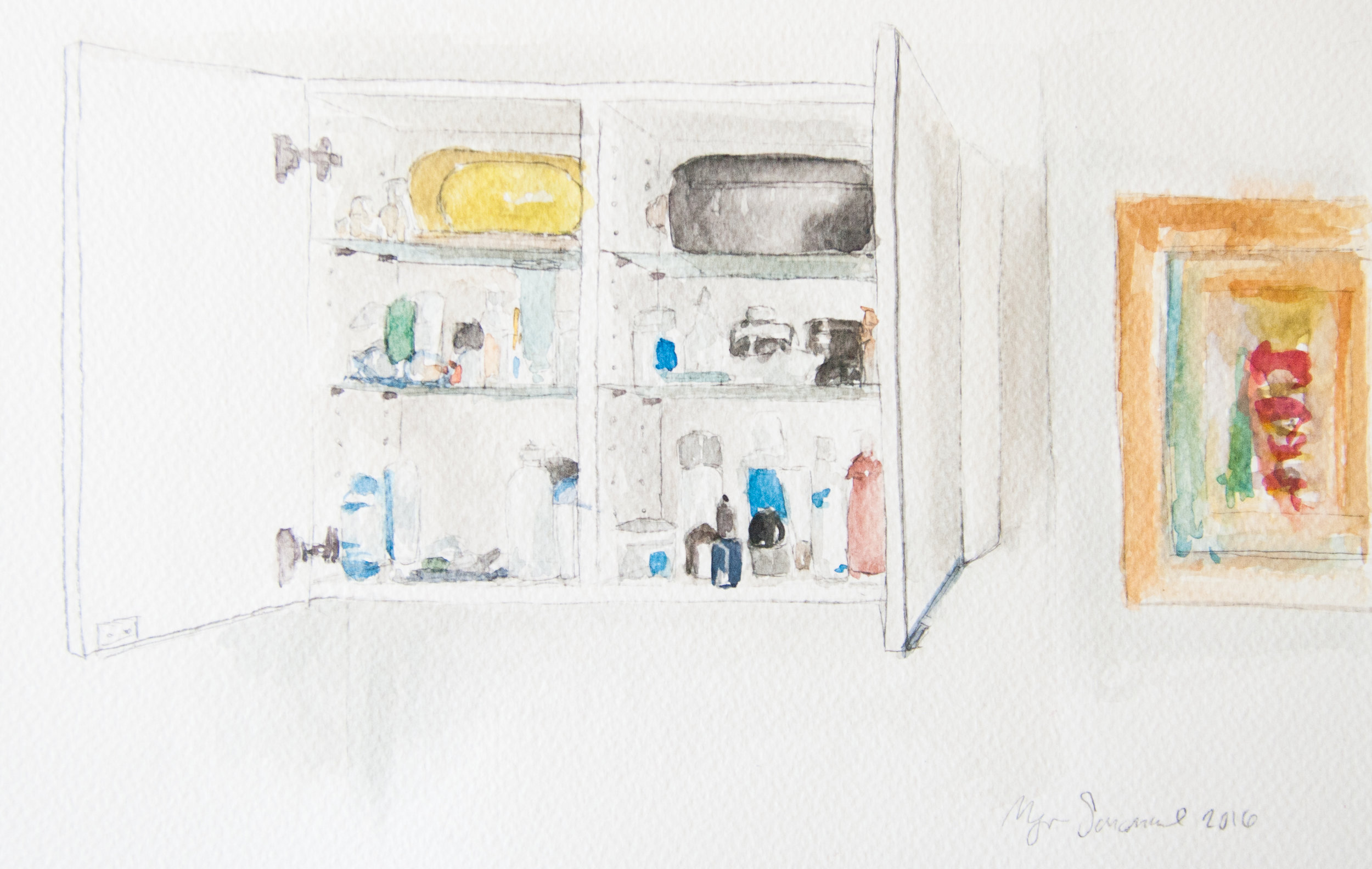 Bathroom Cabinet. 29x20cm. Watercolor, gouache, and graphite on paper. 2016.