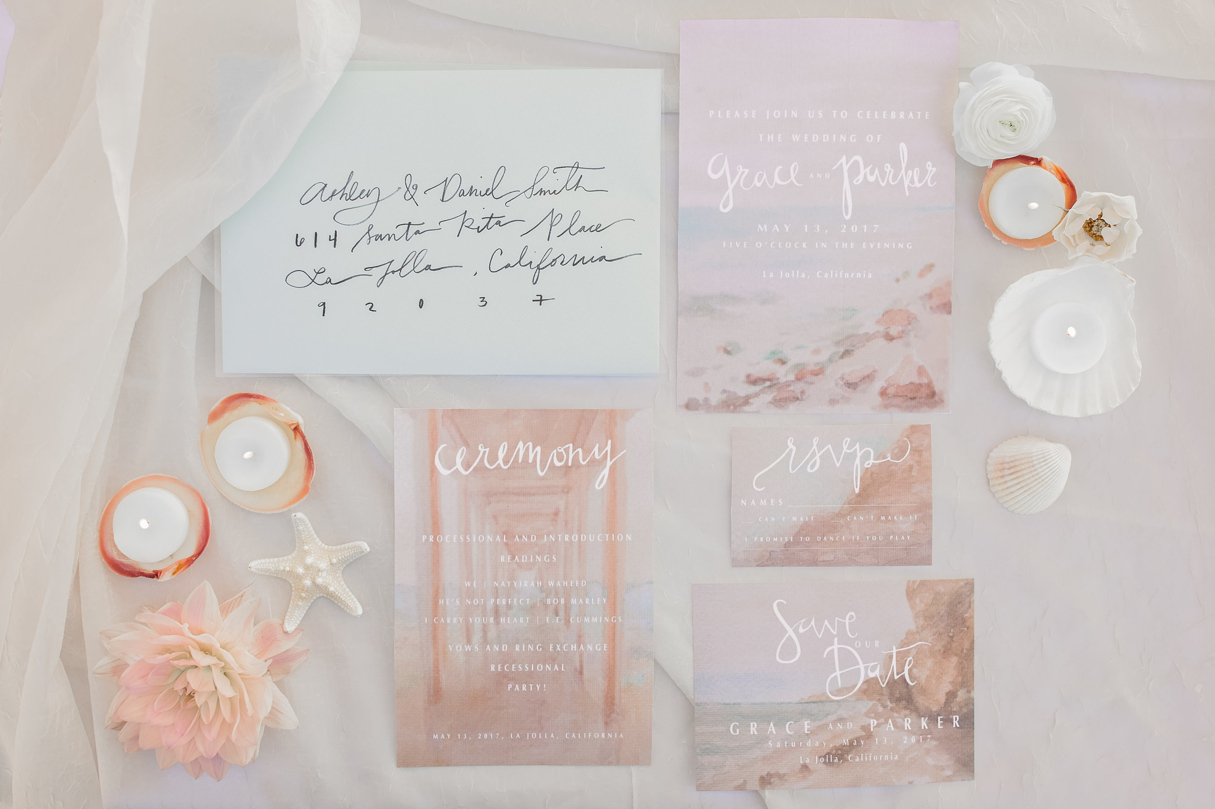 Beach-side California Watercolor Wedding Invitation Suite, 2017. Photo by  Fixated Concepts .