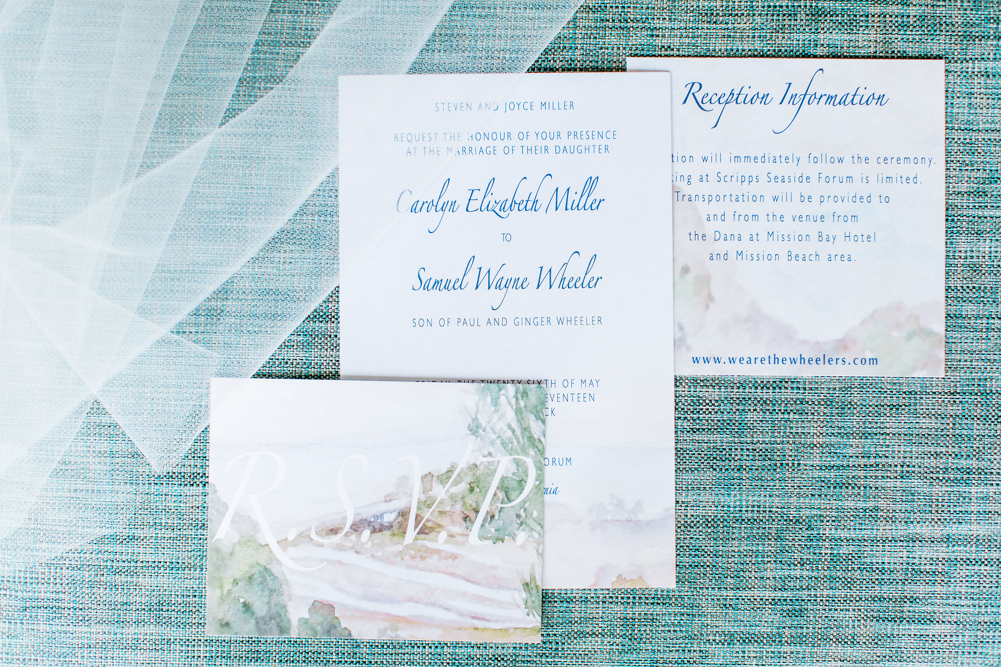 Bespoke San Diego Watercolor Wedding Invitation Design, 2017. Photo by  Pauline Conway Photography .