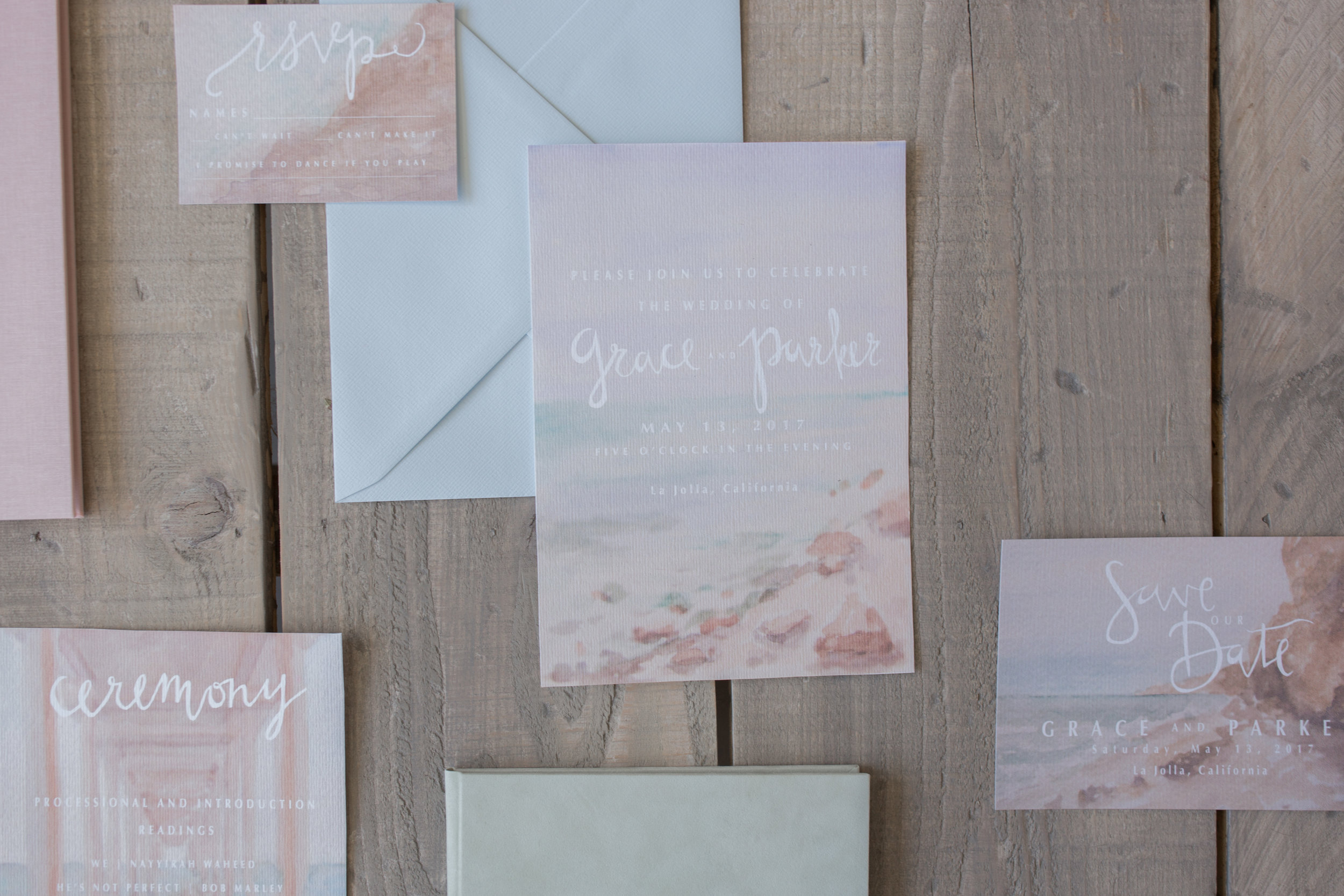 Costal California Custom Watercolor Wedding Invitation, 2017. Photo by  Fixated Concepts .