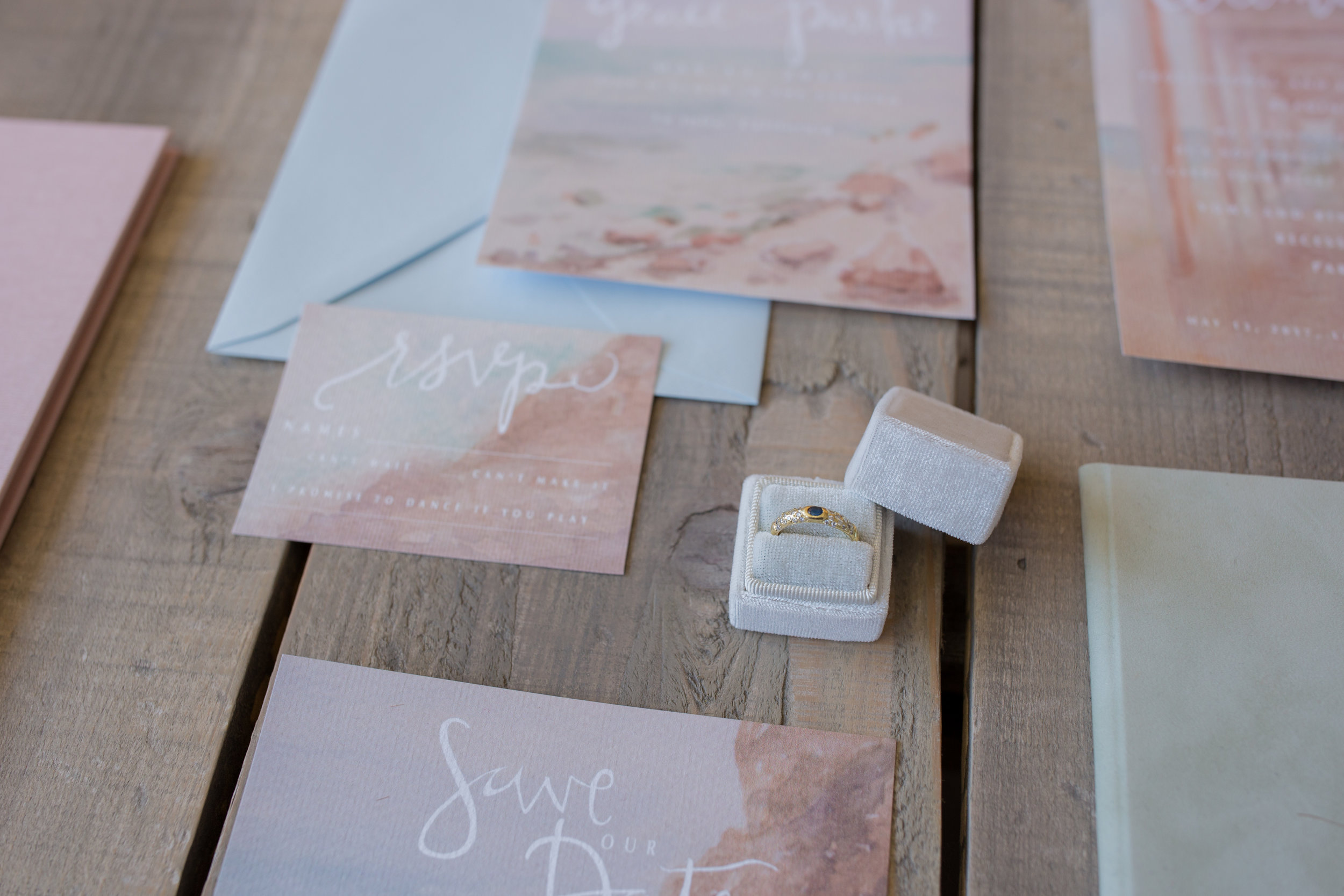 Costal California Personalized Wedding RSVP in Watercolor, 2017. Photo by  Fixated Concepts .